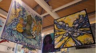 Street art on display at the Pavillon de l'Eau in Paris.