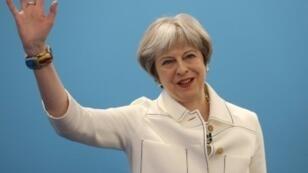 رئيسة الوزراء البريطانية تيريزا ماي خلال مؤتمر حزب المحافظين في لندن في 17 آذار/مارس.