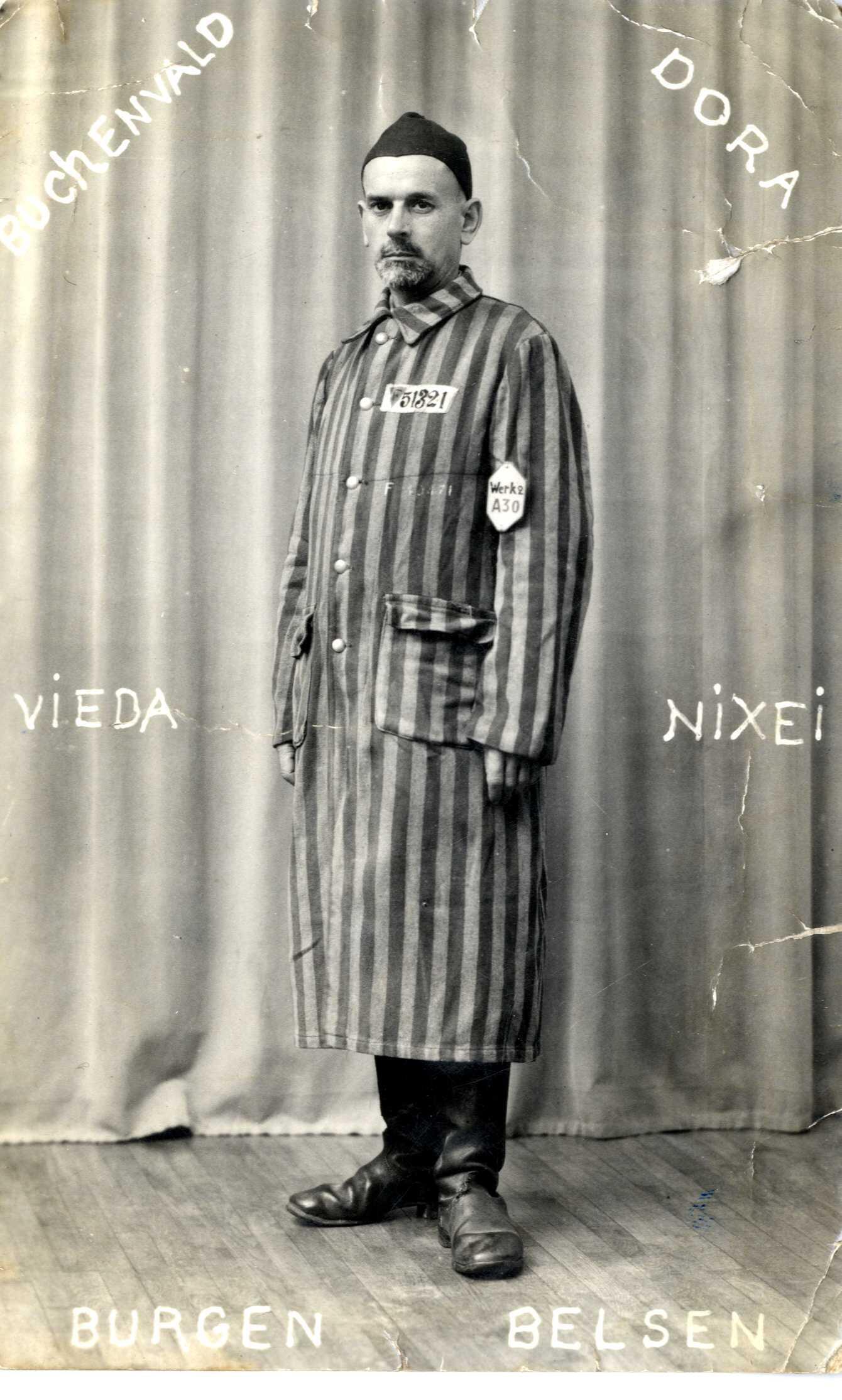 Une photographie du déporté Henri Guet. Cheminot à la SNCF, il a été arrêté en en novembre 1941 par la police française au Mans en tant qu'ex membre du parti communiste. Condamné à cinq ans de prison, il purge sa peine avant d'être remis aux autorités allemandes puis déporté en mai 1944.
