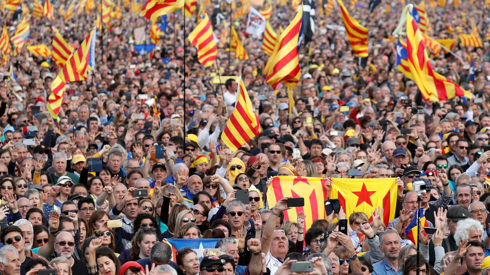 Catalan separatist supporters hold Esteladas (Catalan separatist flags) during a rally in Perpignan, France February 29, 2020.