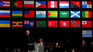 El presidente de la FIFA , Gianni Infantino, pronuncia un discurso durante el 68º Congreso de la FIFA.