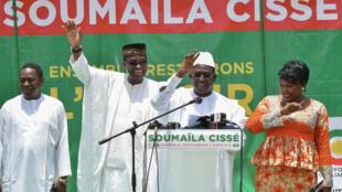 Soumaïla Cissé, s'adressant à ses supporters à Bamako, le 3 août 2018.