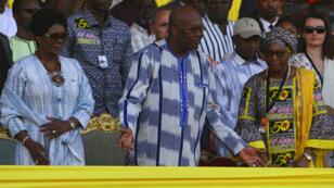 Le président burkinabè, Roch Marc Christian Kabore, en compagnie de son épouse, Sika Kabore, à l'inauguration du Fespaco, le 23 février 2019.