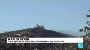 2020-03-03 14:10 Syria: Turkish fighter jet downs Syrian warplane over Idlib