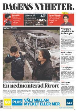 """Les émeutes en Une du journal suédois """"Dagens Nyheter"""""""