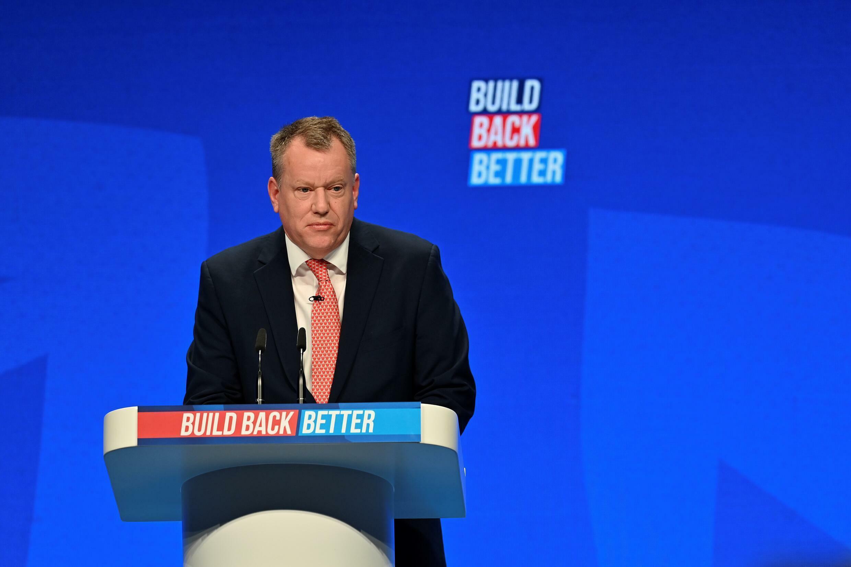Le secrétaire d'Etat chargé du Brexit David Frost, lors de son intervention au congrès du parti conservateur à Manchester, le 4 octobre 2021