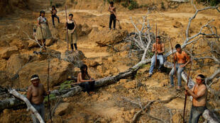 Los indígenas de la tribu Mura muestran un área deforestada en tierras indígenas sin marcar dentro de la selva amazónica cerca de Humaita, estado de Amazonas, Brasil, el 20 de agosto de 2019.