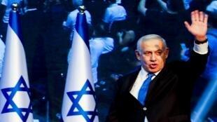 رئيس الوزراء الإسرائيلي بنيامين نتانياهو لحظة وصوله إلى مقر حزب الليكود عقب الإعلان عن استطلاعات الرأي خلال الانتخابات البرلمانية الإسرائيلية في تل أبيب، 18 سبتمبر/ أيلول 2019.