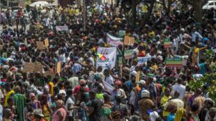 Une marche de protestation pacifique organisée par l'opposition s'est déroulée à Cotonou le 11mars2019 pour dénoncer son exclusion du processus électoral.