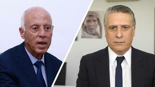 قيس سعيّد ونبيل القروي المرشحان المتأهلان للدورة الثانية من السباق الرئاسي التونسي.