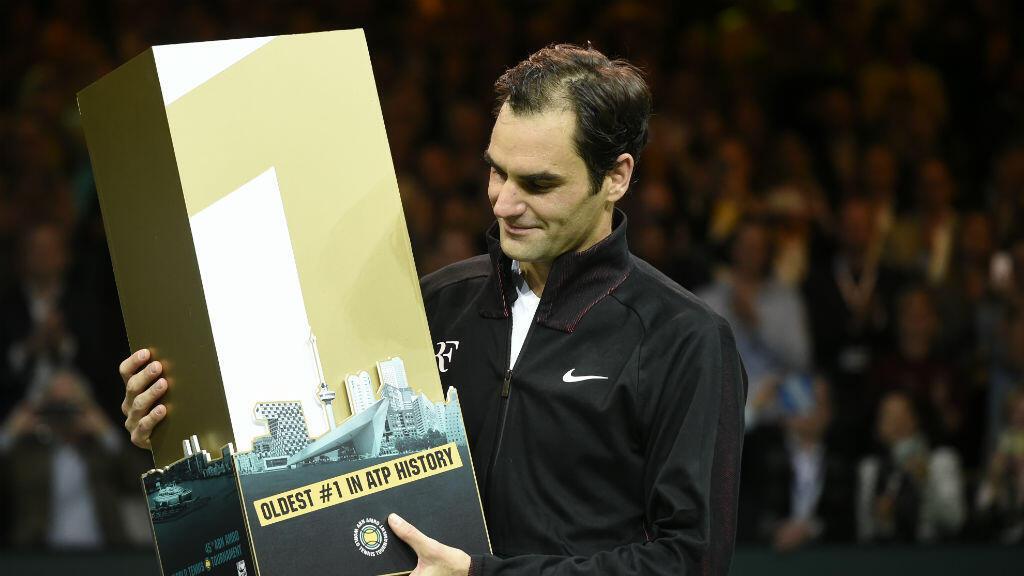 Le Suisse Roger Federer, après sa victoire en quarts de finale au tournoi de Rotterdam, le 16 février 2018, qui lui a permis de récupérer son titre de numéro un mondial.
