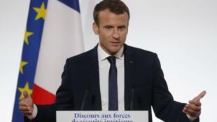 """Emmanuel Macron a exposé, mercredi 18 octobre, ses ambitions pour une sécurité """"plus efficace""""."""