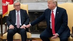 Pursuing a limited trade deal was the central part of a truce agreed in July 2018 when European Commission President Jean-Claude Juncker (L) and US President Donald Trump promised no new tariffs after those on the steel and aluminium