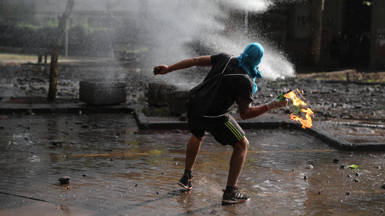 Un manifestant antigouvernement à Santiago, le 11novembre2019.
