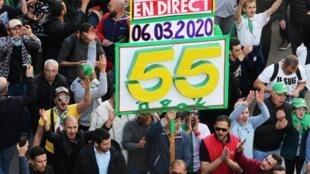 صورة من مظاهرات الجمعة الـ55 في الجزائر العاصمة، 6 مارس/آذار 2020.