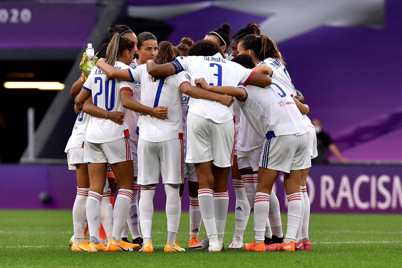 L'équipe de l'Olympique lyonnais, lors de la demi-finale contre le PSG, le 26 août 2020 à Bilbao.