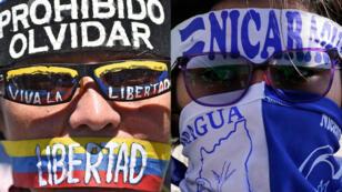 Composición de dos manifestantes, uno en contra del Gobierno de Nicolás Maduro y el otro contra Daniel Ortega, con consignas en su cabeza.