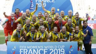 La selección sueca celebra su victoria en Lyon ante Inglaterra el sábado 6 de julio de 2019