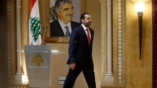 Saad Hariri después de la conferencia de prensa en la que anunció su renuncia, el 29 de octubre de 2019 en Beirut.