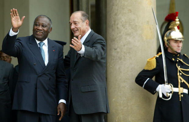 President Laurent Gbagbo meets his French counterpart Jacques Chirac at the Elysée palace in Paris in February 2004.