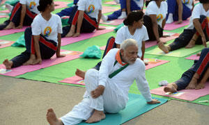 India's Prime Minister Narendra Modi leads thousands in a mass yoga programme in New Delhi on June 21, 2015.(Photo: AFP)