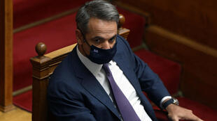 Greek Prime Minister Kyriakos Mitsotakis during a parliamentary session on an accord that defines maritime boundaries with Egypt in the Mediterranean, at the parliament in Athens, Greece, August 26, 2020.
