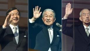 Japan's Crown Prince Naruhito (L) Emperor Akihito (C) and late emperor Hirohito