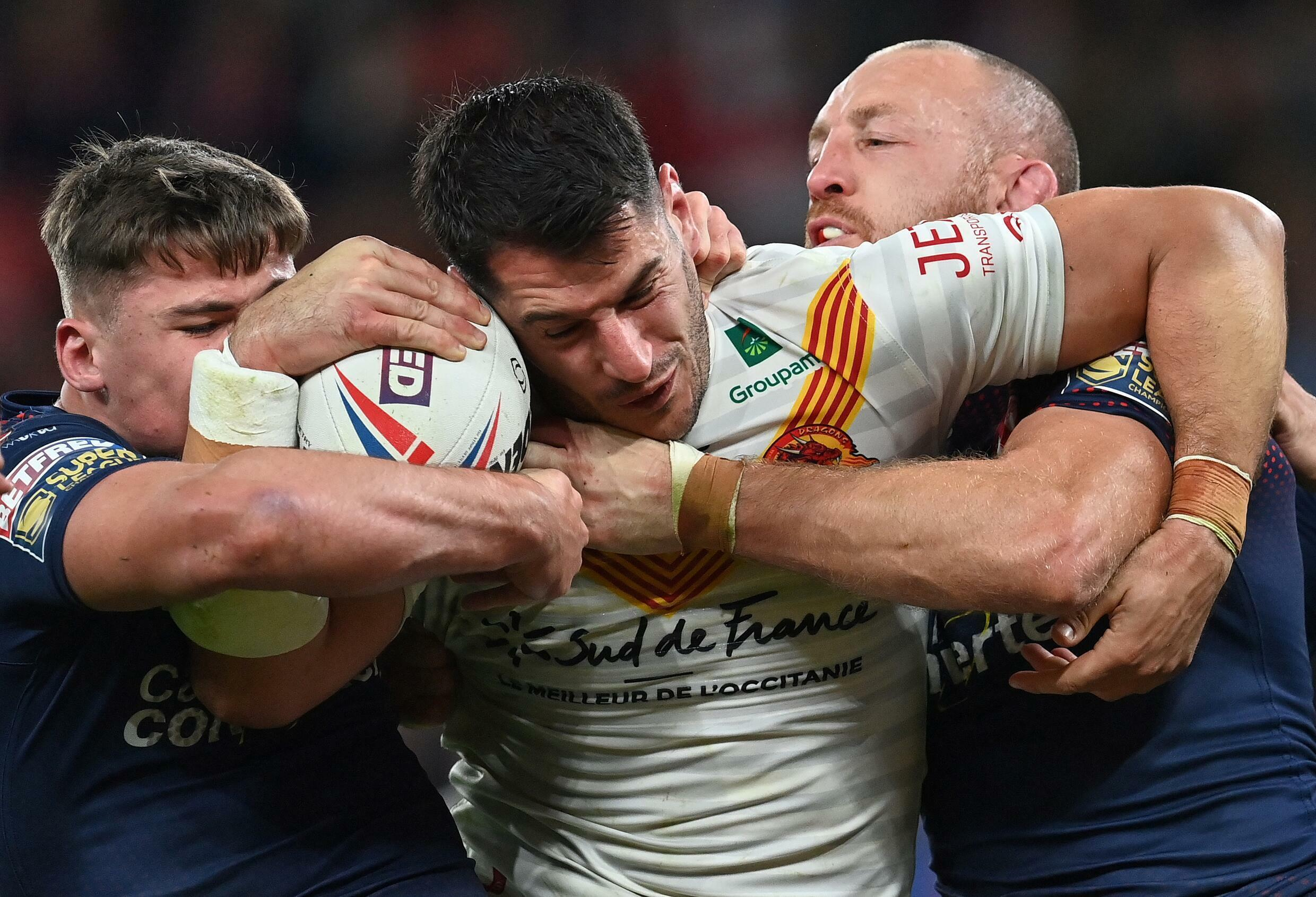Catalan Dragons captain Benjamin Garcia faces two St Helens players in the Super League final on October 9, 2021 in Manchester