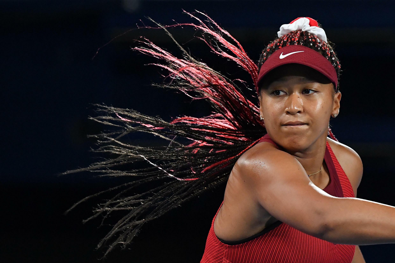 Naomi Osaka in action during her defeat to Marketa Vondrousova at the Tokyo Olympics