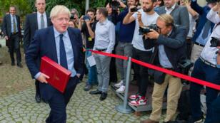Le ministre Boris Johnson à l'issue d'une rencontre avec le président de la Commission européenne à Luxembourg, le 16 septembre 2019.