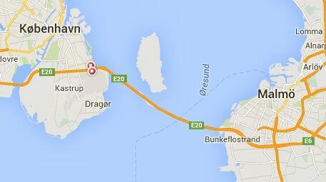 Le pont de l'Öresund (Google map)