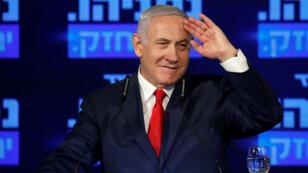 Benjamin Netanyahou, 69ans, a lancé sa campagne en vue des législatives le 4mars dans une banlieue de Tel Aviv.