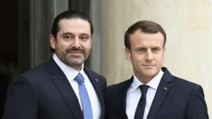 سعد الحريري مع إيمانويل ماكرون في باريس، في 8 ديسمبر/كانون الأول 2017