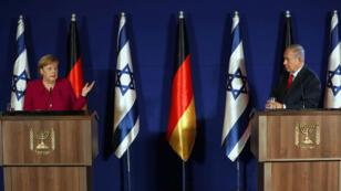 La canciller alemana, Angela Merkel, durante una conferencia de prensa conjunta con el primer ministro israelí, Benjamin Netanyahu, en Jerusalén, el 4 de octubre de 2018.