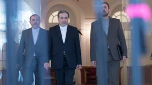 Le vice-ministre iranien des Affaires étrangères, Abbas Araghchi, et Kazem Gharib Abadi (à droite), représentant de l'Iran auprès des Nations unies, à Vienne, le 28 juillet 2019.