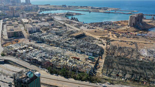 An aerial view shows the massive damage done to Beirut port's grain silos after a mega-blast tore through the harbor