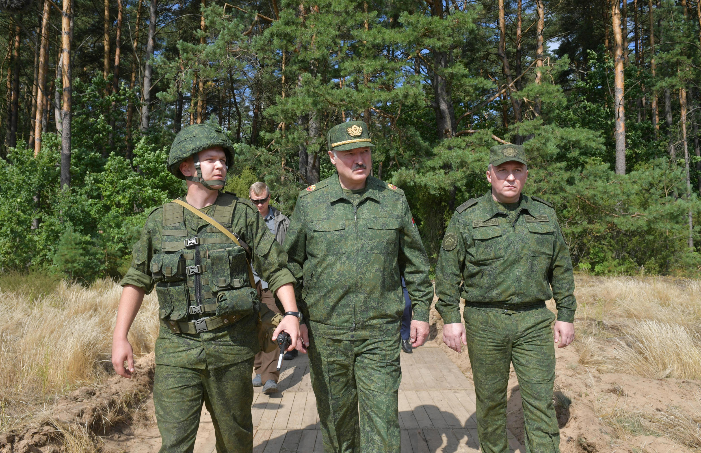 Belarusian President Alexander Lukashenko visits a military firing range near Grodno, Belarus on August 22, 2020.