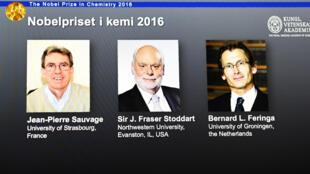 Jean-Pierre Sauvage, Fraser Stoddart et Bernard Feringa, prix Nobel de chimie.