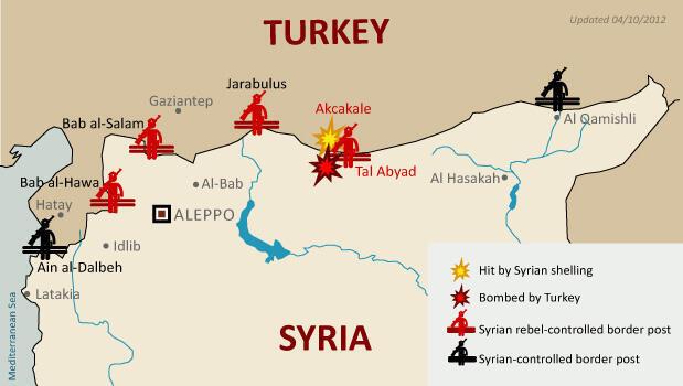 Line of fire along Turkey Syria border