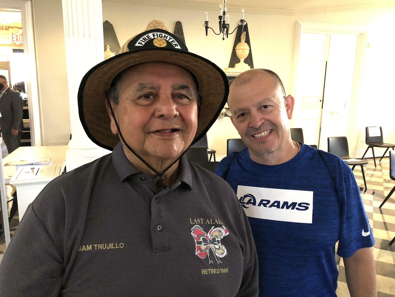Retired firefighter Sam Trujillo of Albuquerque, New Mexico and his son Joe, a military veteran.