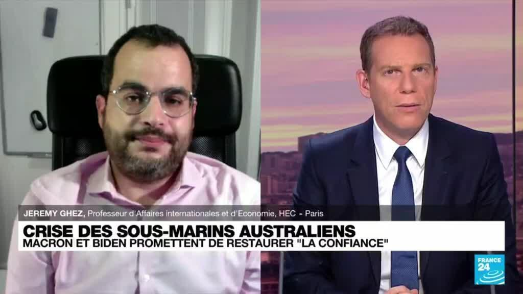 """2021-09-22 20:01 Crise des sous-marins australiens: Macron et Biden promettent de restaurer """"la confiance"""""""