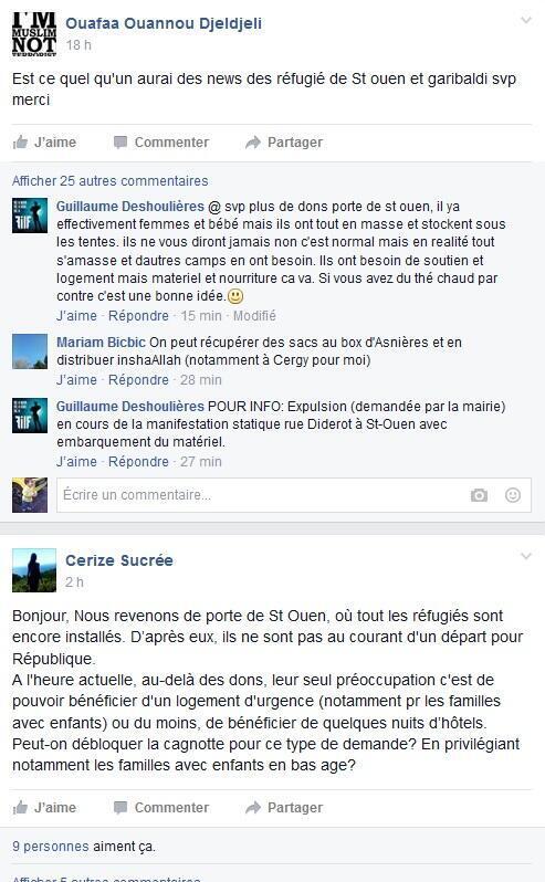 بعض المنشورات على فيس بوك للدعوة لمساعدة المهاجرين