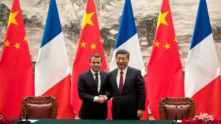 Emmanuel Macron et Xi Jinping, le 9 janvier 2018 à Pékin.