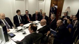 Le président américain Donald Trump, lors de son briefing à propos de la frappe militaire en Syrie, le 7 avril 2017.