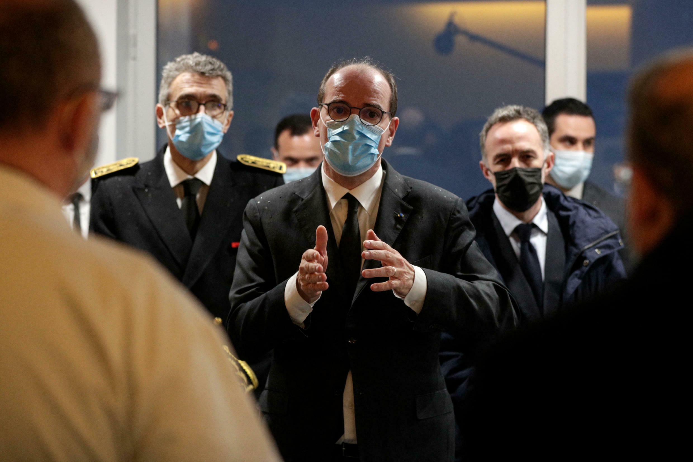 Prime Minister Jean Castex at the La Pitié-Salpêtrière hospital in Paris, on March 12, 2021.