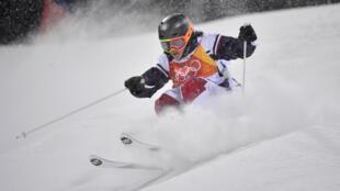 La Française Perrine Laffont sur le point de remporter la finale de ski de bosses des JO-2018, le 11 février.