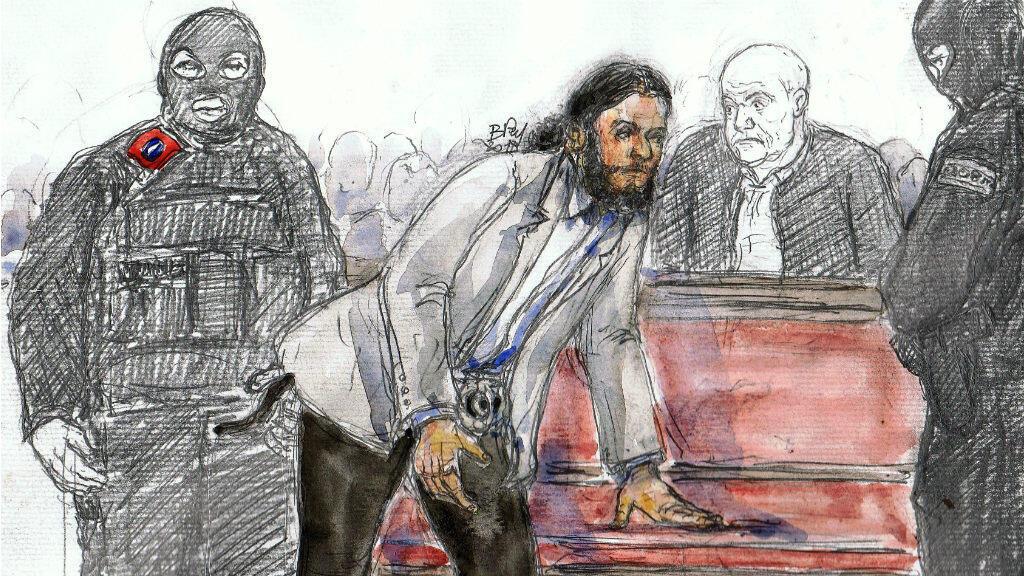 صلاح عبد السلام خلال جلسة محاكمته ببروكسل في 7 فبراير 2018