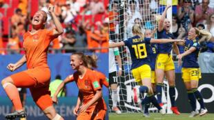 Jugadoras de Países Bajos (izquierda) y Suecia (derecha) festejan luego de marcar sendos goles en el Mundial Femenino disputado en Francia, el 29 de junio de 2019.