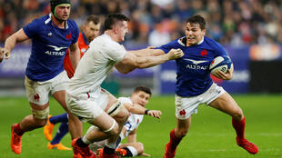 France's Antoine Dupont in in Six Nations rugby action against England at the Stade de France in Saint-Denis, north of Paris, on February 2, 2020.