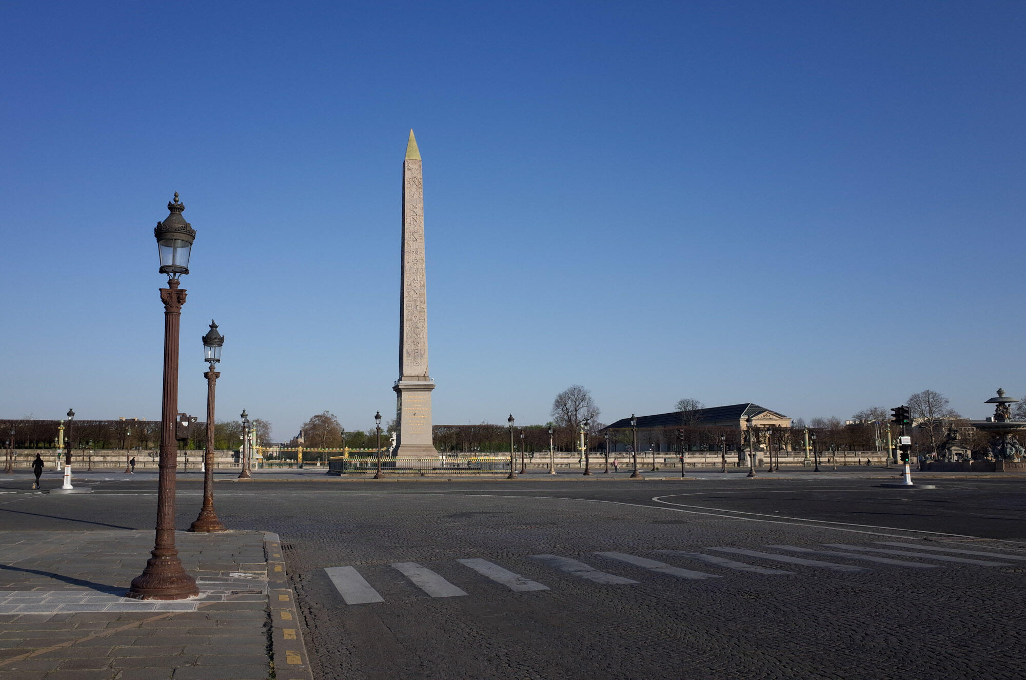 The Place de la Concorde, one of the Paris's central squares and usually teeming with traffic, is now mostly empty.